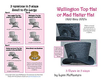 "MC34  - 1800's Wellington or ""Mad Hatter"" Top Hat Sewing Pattern by Lynn McMasters"