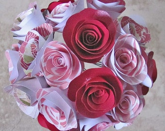Pink and red paper flower bouquet