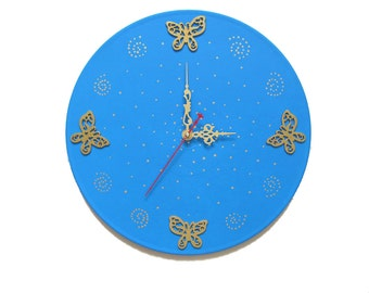 Wall сlock modern wall clocks large wall clocks butterfly wall art unique wall clocks kids clocks gold blue art clock wall decor blue clock