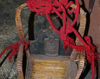 Vintage Chinese Small Red Hanging Wicker Basket With Red Ropes