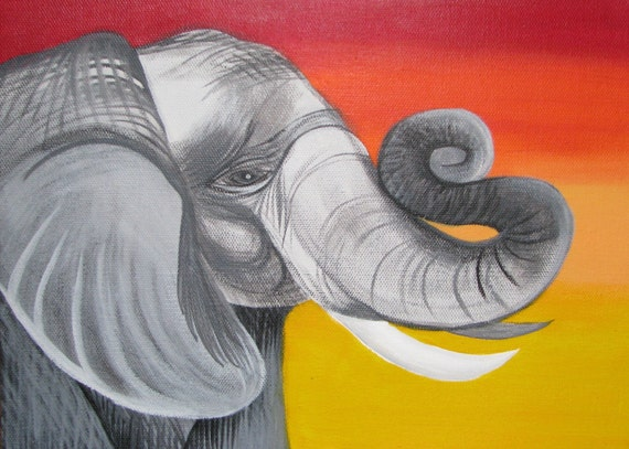 Original African elephant with red fading to yellow background. 9 x 12 inch acrylic painting