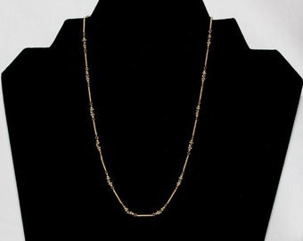 Twisted link Beads Necklace 14K two tone gold - sku #67855