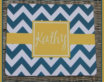 Blue Chevron Personalized Mouse Pad, Personalized Mousepad, Monogrammed Mouse Pad, Monogrammed Mousepad, Custom Mouse Pad, Custom Mousepad