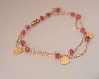 SALE. bracelet. raspberry rubies. 14k goldfill heart charms.