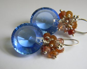 SALE. earrings. sky blue quartz. sunstone. sapphire.