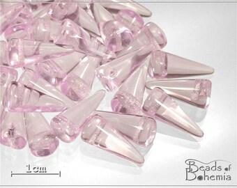 10 pcs Pink Transparent Czech Glass Spike Beads 14x6mm (7319)
