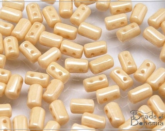 20 g Chalk Champagne Lustred Czech Two Hole Rulla Beads 3x5 mm (7497)
