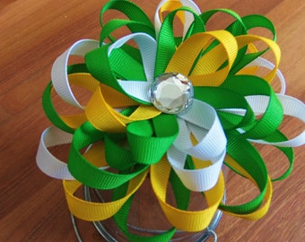 Yellow, Green & White Loopy Hairbow