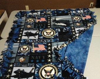 US Navy double sided hand tied fleece blanket