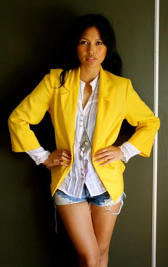 Vintage Classic Yellow Womens Blazer By EbbandFlowLA On Etsy