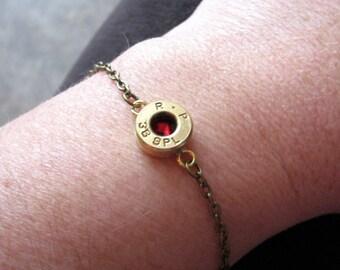 Gold Brass Bullet Bracelet- Anklet- Ankle Bracelet- Birthstone Bracelet- Bullet Jewelry- Ammo- Rustic- County Western- Gift for Her- Redneck