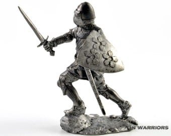 Toy soldier Bohemian knight, 14th century metal miniature sculpture. Collection 54mm 1:32 miniature figurine