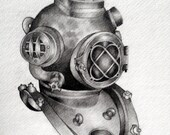 Vintage Diving Helmet Original Illustration Semigloss Cardstock 5 X 7