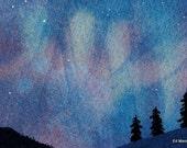 MATTED ACEO Shaman Dreamscape Northern Lights Original Watercolour & Gouache Painting. Aurora Borealis. Indigo. Midnight Blue
