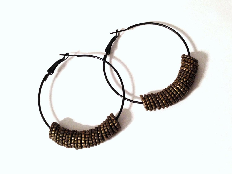 Black and Brass Color Beaded Hoop Earrings Pierced Wear