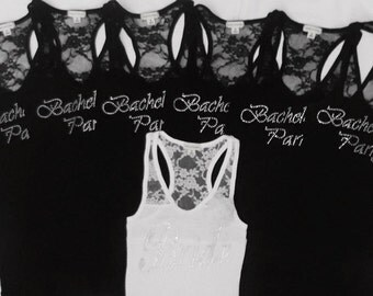 7 Bachelorette Party Tank Tops Shirt. Bridesmaid.Bride Lace Tank.  Maid of Honor. Matron of Honor. Wedding Bridal Party.