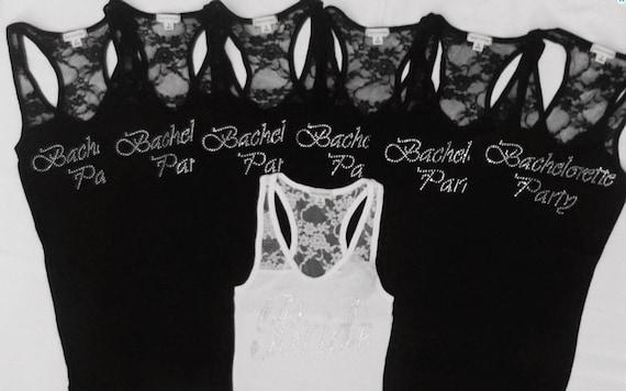Items Similar To 7 Bachelorette Party Tank Tops Shirt BridesmaidBride Lace Maid Of Honor Matron Wedding Bridal On Etsy