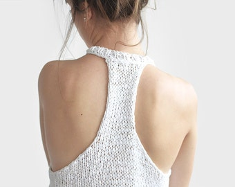 Hand Knit Tank Top, Womens Sleeveless Sports Top, Cotton Yoga Top in White, Custom Colours / Hand Knitted