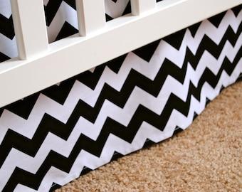 Adjustable Black and White Chevron Box Pleat Crib Skirt
