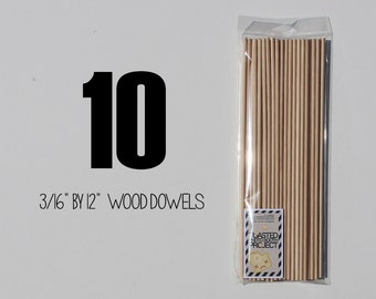 """10 - 3/16"""" by 12"""" Birch Wooden Dowels Perfect for Photo Booth Prop Assembly"""