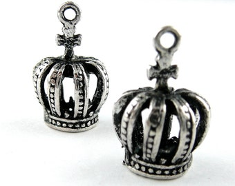 3D Kings Crown Charm/Pendant - Antiqued Silver - Set of 2 -180-