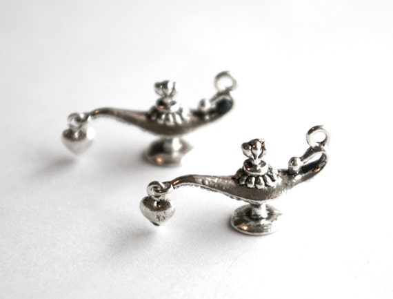 Silver Genie in a Bottle Lamp Charm- Set of 2 -170-