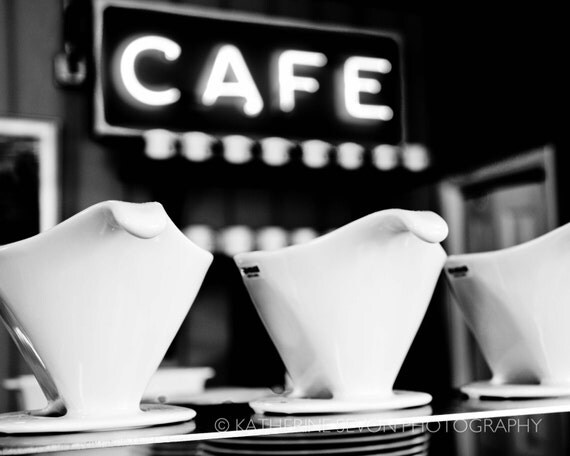 Fine Art Photography - Cafe - Coffee - Black and White Photography - 8x10 Photo Print