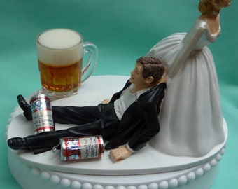 Wedding Cake Topper Budweiser Bud Beer Mug Cans Drinking Drinker Groom Themed w/ Bridal Garter Bride Humorous Funny Reception Centerpiece