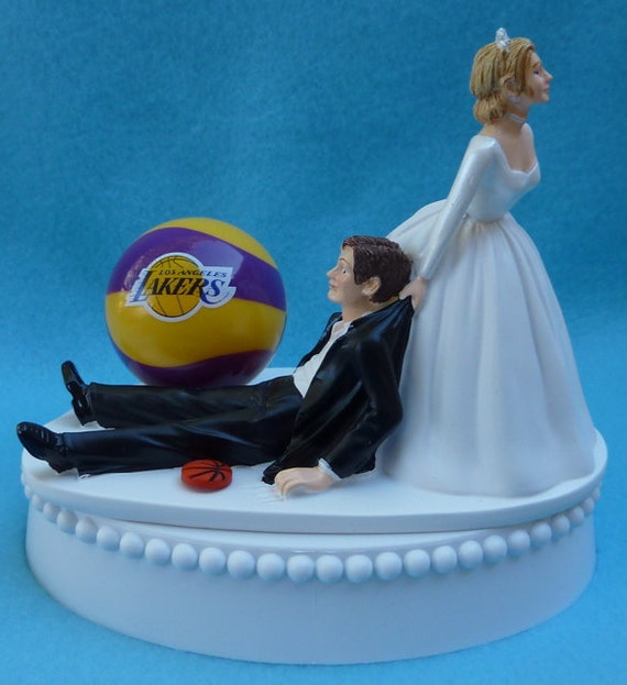 basketball themed wedding cake toppers wedding cake topper los angeles lakers la basketball themed w 11104
