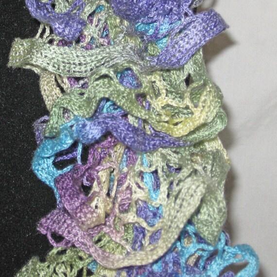 Knit Ruffle Scarf Pattern Starbella : Ruffled Hand Knitted Starbella Yarn Scarf Wild Hydrangeas