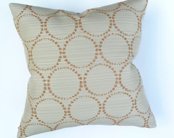"Modern Accent Pillow -  Momentum Textiles ""Stucco"" - Circles and metallic lines design - 17"" x 17"" feather/down"