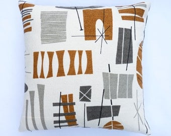 "Mid-Century modern accent Pillow -  TIki Barkcloth reproduction - 17"" X 17"""