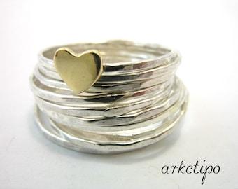 Sterling Silver Stacking Rings - Set of 10 handmade stack rings - Handmade - Heart
