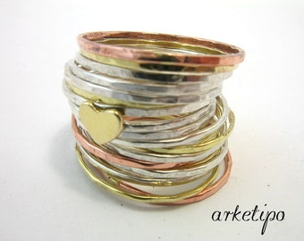Stacking Rings - Heart - Set of 19 handmade stack rings -  10 sterling silver, 6 brass and 3 copper