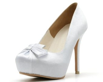 Custom Made White Satin Closed Toe Wedding Shoe. White Satin Wedding Shoe. White Bow Wedding Shoe.