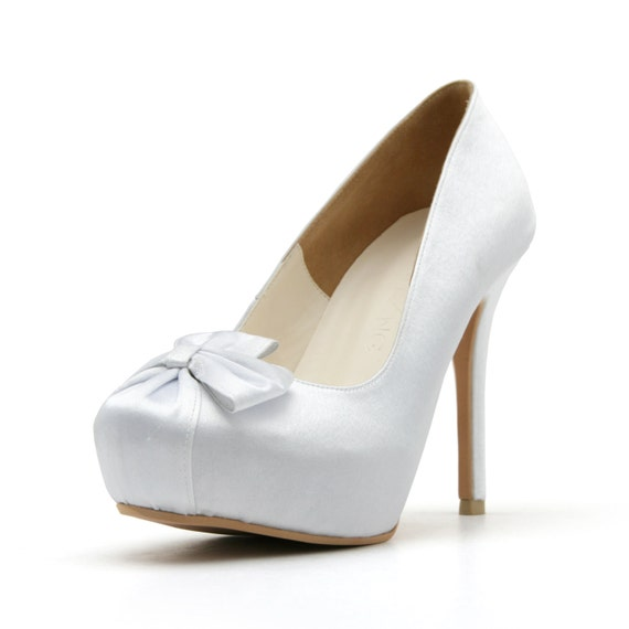 White Satin Closed Toe Pumps