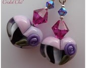 Handmade Lampwork Glass Heart Earrings Swarovski Crystal Earrings Rare Tender Romantic Earrings Valentines Day Gift