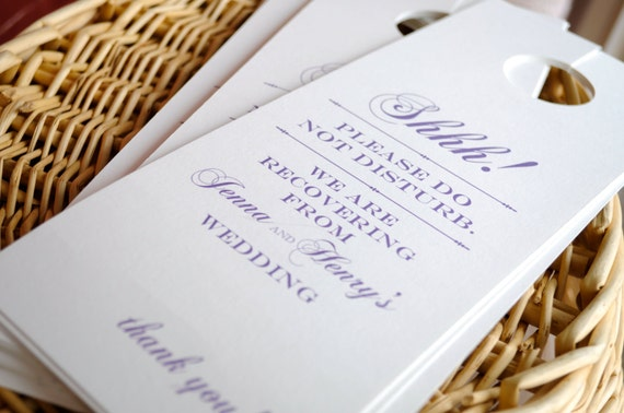 Door Hangers For Wedding Hotel Welcome Bags // Single Or