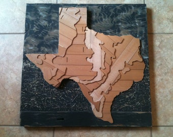 Recycled State - Texas - Topographical 3D Map Art
