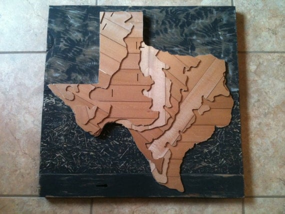Items Similar To Recycled State Texas Topographical D Map Art - Topographical map of texas
