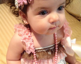 White PInk Brown petti lace romper headband set, petti romper, baby headband, feather vintage headband, baby outfit,