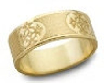 French Cross Engraved Christian Wedding Band 7mm Wide 14K Gold
