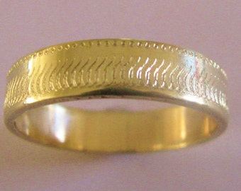 Reptile Texture Wedding Band 6mm Wide 14K Gold