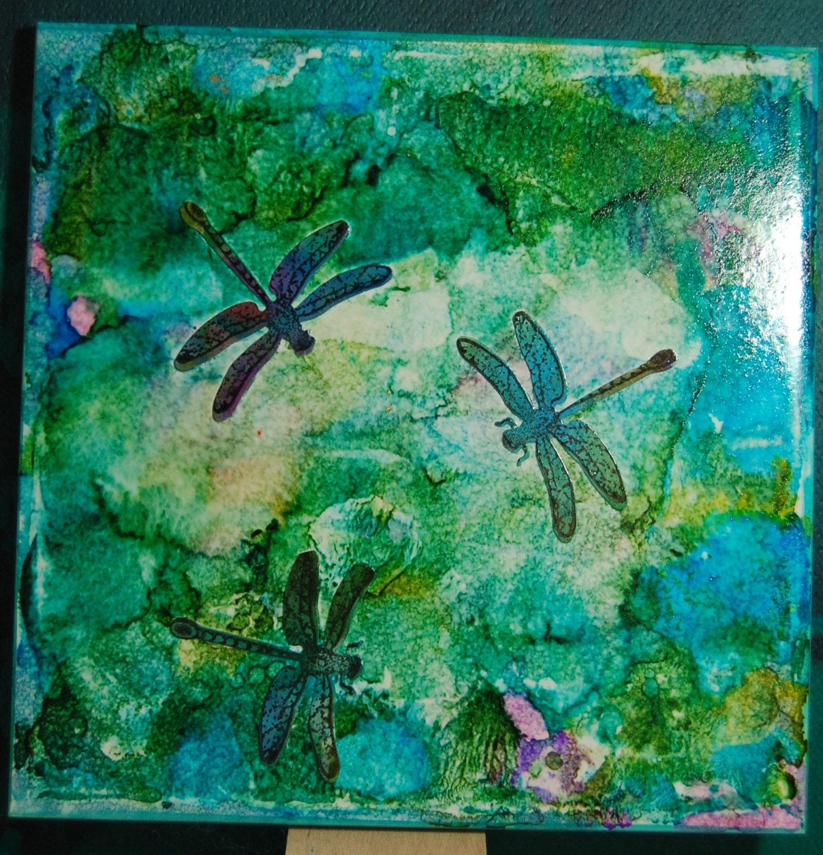 Three Dragonflies Unique Handmade Alcohol Ink Tile Trivet