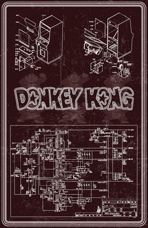 donkey kong arcade machine wiring diagram poster by zolleycram. Black Bedroom Furniture Sets. Home Design Ideas