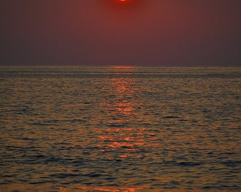 Sunset on Kahluu Bay, Kona, Hawaii - 8x10 metallic print