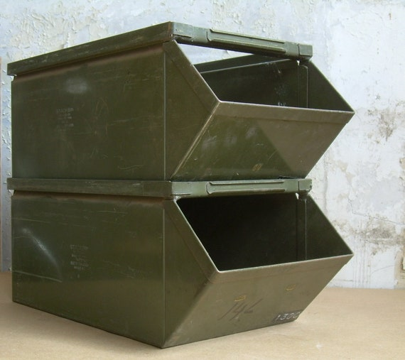 Industrial Stacking Containers : Items similar to industrial metal stacking bins pair