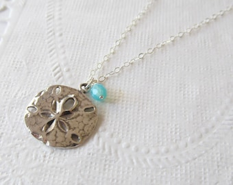 Sterling Silver Sand Dollar Necklace, Sterling Silver Necklace