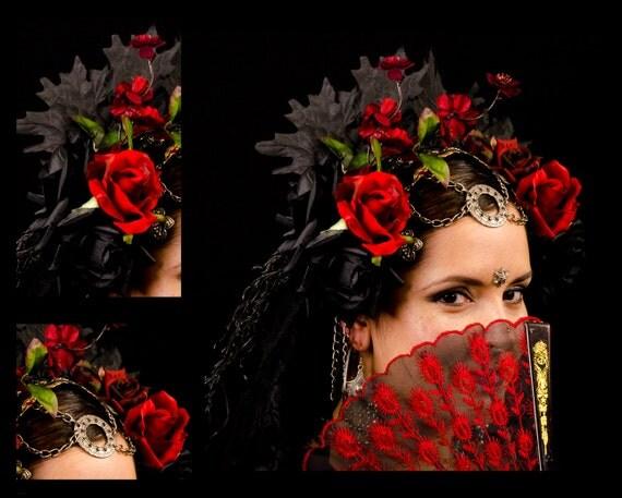 Tribal Bellydance Day of the Dead Headdress