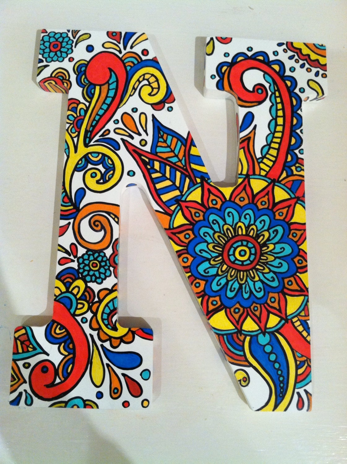 Hand painted wooden letter n for Letter n decorations